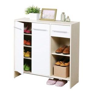 Homelike 日式二門一抽鞋櫃-楓木+白色