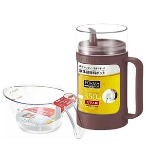 日本ASVEL油控式350ml調味油玻璃壺(咖啡色)+300ml量杯(特惠組)