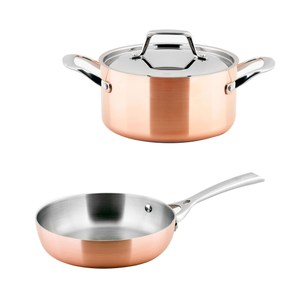 (組)LASSAN蘿莎不鏽鋼雙耳湯鍋20cm+LASSAN蘿莎不鏽鋼單柄煎盤20cm