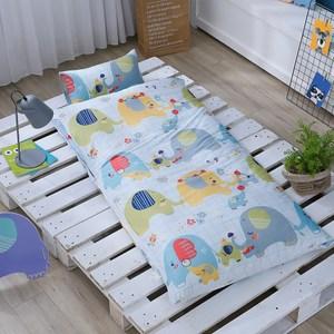 GOLDEN-TIME-大象豐年祭-精梳棉200織紗兒童睡袋(藍)