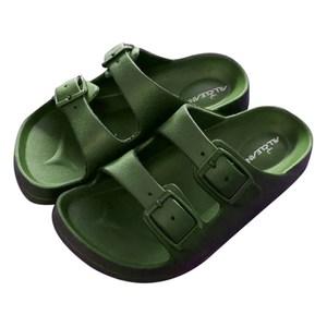 HOLA 兒童室內舒適拖鞋軍綠16