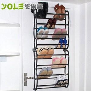 【YOLE悠樂居】多功能收納八層門後鞋架-黑色#1327057-1