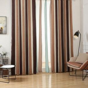 【三房兩廳】現代北歐風格雪尼爾條紋窗簾300x210(咖啡條紋)