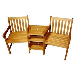 峇里風FSC實木雙人休閒椅含桌