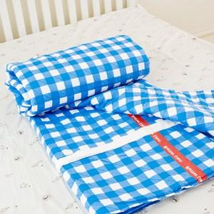 【奶油獅】格紋系列-100%精梳純棉雙面薄被套-藍(單人)