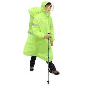 【PUSH!】戶外休閒用品雨衣登山雨衣背包雨衣連體雨衣P104亮光綠S