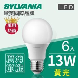 【喜萬年】 LED E27 13W 燈泡 黃光(3000K)-6入組