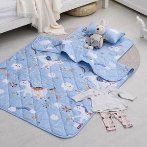 IN HOUSE-兒童睡墊涼被組-快樂獨角獸(藍)