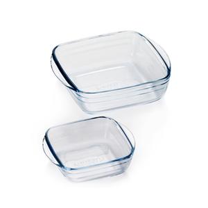 ADERIA 日本進口方型微波玻璃烤盤2件家庭組