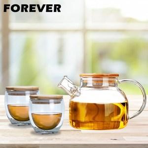 【日本FOREVER】日式竹蓋耐熱花茶杯壺組(1000ML+附蓋玻璃雙