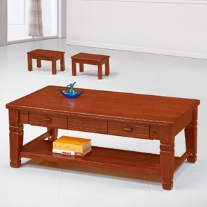【YFS】伯特柚木實木大茶几-126x69x49cm(含椅x2)