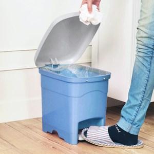 吉利潔腳踏式窄型垃圾桶10L-粉藍