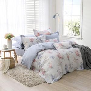 MONTAGUT-悠然花青-300織紗長絨棉兩用被床包組(加大)