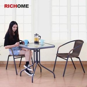 【RICHOME】奧利爾休閒桌椅組-一桌二椅(戶外室內皆適合)
