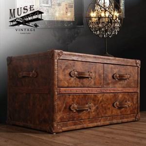 【MUSE】Lancaster蘭開斯特復古工業風牛皮收藏箱