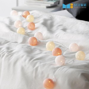 【MH家居】LED 佈置燈串 棉球燈 韓國朵妮LED燈串(粉灰)