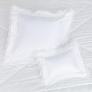 HOLA 楓丹蕾絲防蟎抗菌大小抱枕組 白色