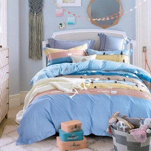 【Indian】純綿雙人四件式兩用被床包組-萌點貓萌點貓