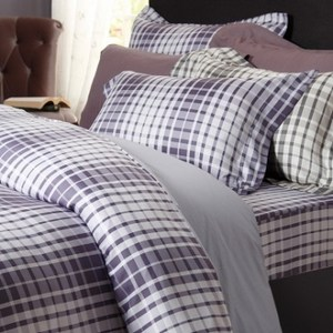 波紋放漾木棉絲歐式枕套2入 紫色