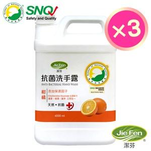 潔芬抗菌洗手露4000ml補充桶3入組(柑橘)