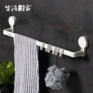【生活采家】浴室強力無痕貼單桿長毛巾架#57016入