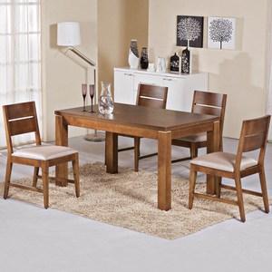 【艾木家居】莎洛姆4.3尺餐桌椅組(一桌四椅)-柚木色