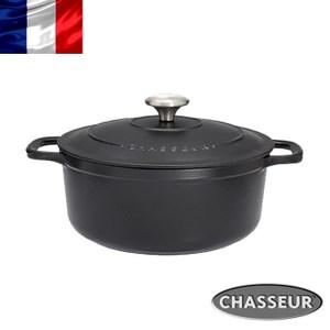 法國【CHASSEUR】獵人黑琺瑯鑄鐵彩鍋24cm(霧黑)