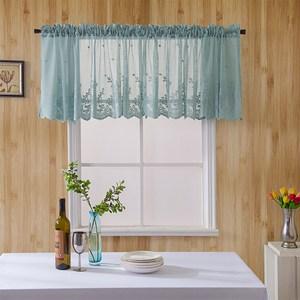 【三房兩廳】繡花咖啡簾61*137cm 窗簾/短簾/門簾/窗紗(藍色)