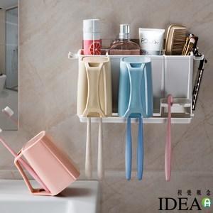【IDEA】壁掛無痕貼瀝水牙刷收納架/漱口杯牙刷架(置物架)