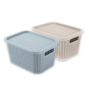 (組)米勒附蓋編織紋收納籃S-可可+藍
