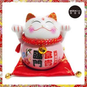 農曆新年春節-開運陶瓷4吋富貴臨門粉紅色小型招財貓/撲滿存錢桶擺飾