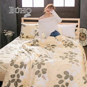 【BUHO】雙人加大三件式精梳純棉床包組(春晨輕霧)