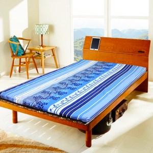 【KOTAS】天然藺草冬夏折疊床墊-雙人(藍色)