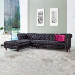 【YFS】貝絲實木腳面左L型沙發-276x182x78cm(兩色可選)黑色