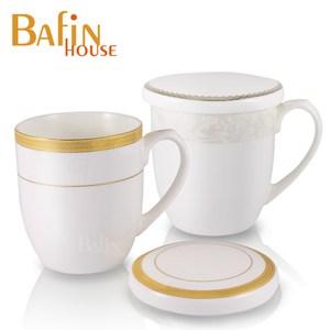 【Bafin House】efay 骨瓷 馬克杯雙入組(附蓋)
