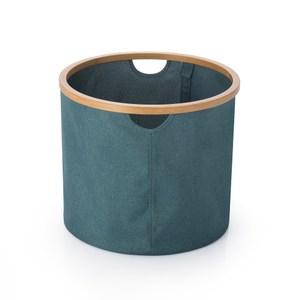 布藝竹製可折疊衣物收納籃圓藍