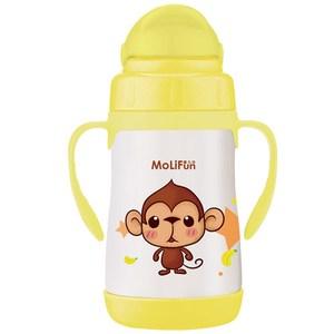 MoliFun魔力坊 不鏽鋼真空兒童吸管杯/學習杯260ml 俏皮猴