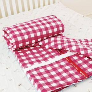 【奶油獅】格紋系列-100%精梳純棉兩用鋪棉被套/四季被-紅(雙人)