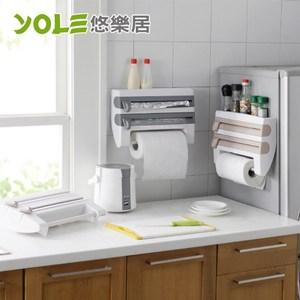 【YOLE悠樂居】日式廚房保鮮膜切割紙巾架/置物架-卡其色