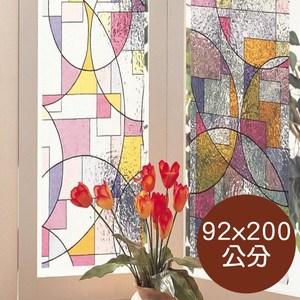 日本製造MEIWA抗UV靜電窗貼(抽象幾何)-92x200公分