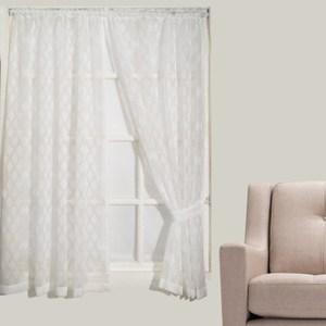幾何菱格紗簾 寬290x高210cm 米白