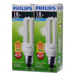 飛利浦新一代經濟型省電燈泡3U18W白光2入