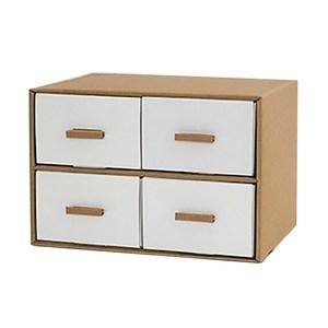 創意抽屜式白色收納盒-4格