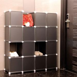 【ikloo】16格16門收納櫃/組合櫃(黑)
