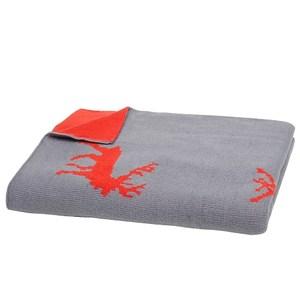 聖誕糜鹿雙面針織披毯 橘灰