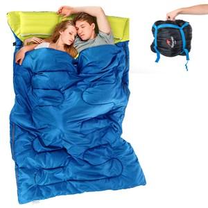 【PUSH!登山戶外用品】加寬加厚雙人帶枕四季睡袋綠色P85-1
