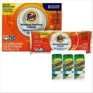 美國 Tide洗衣槽洗潔劑(75g*8/盒) + Bounty萬用紙巾*3