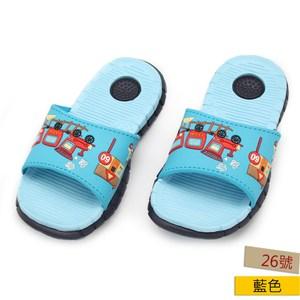 HOLA 跑跑汽車童室外拖鞋-藍26