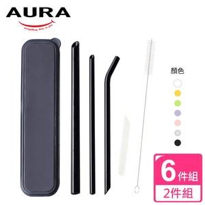 【AURA 艾樂】晶亮耐熱玻璃吸管6件組*2透明+透黑透明+透黑