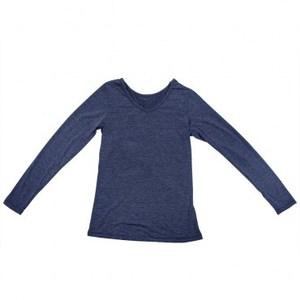 特力樂活咖啡紗保暖熱感衣 女版V領長袖 深藍色 M-L